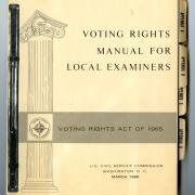 Voting Rights Manual: This manual spells out rules for complying with the Voting Rights Act of 1965.  (National Museum of American History)