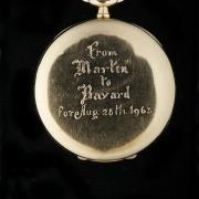 "A Pocket Watch from Dr. King: Pocket watch given by Martin Luther King Jr. to Bayard Rustin with the inscription on the back ""From Martin to Bayard for Aug. 28, 1963."" (On loan from Walter Naegle)"