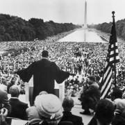 """""""Give Us the Ballot"""" (Courtesy of Getty Images) Martin Luther King Jr. delivers his speech at the Prayer Pilgrimage for Freedom gathering before the first major civil rights demonstration in Washington, D.C."""