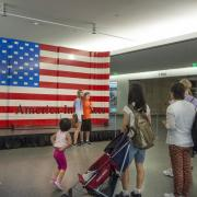 Visitors pose with the Lego American flag