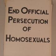 "Kameny protest sign: ""End Official Persecution of Homosexuals"""
