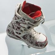One of a pair of Burton snowboard boots worn by Hannah Teter at the 2010 Vancouver Olympics