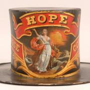 Fire hat including the allegorical figure of hope.