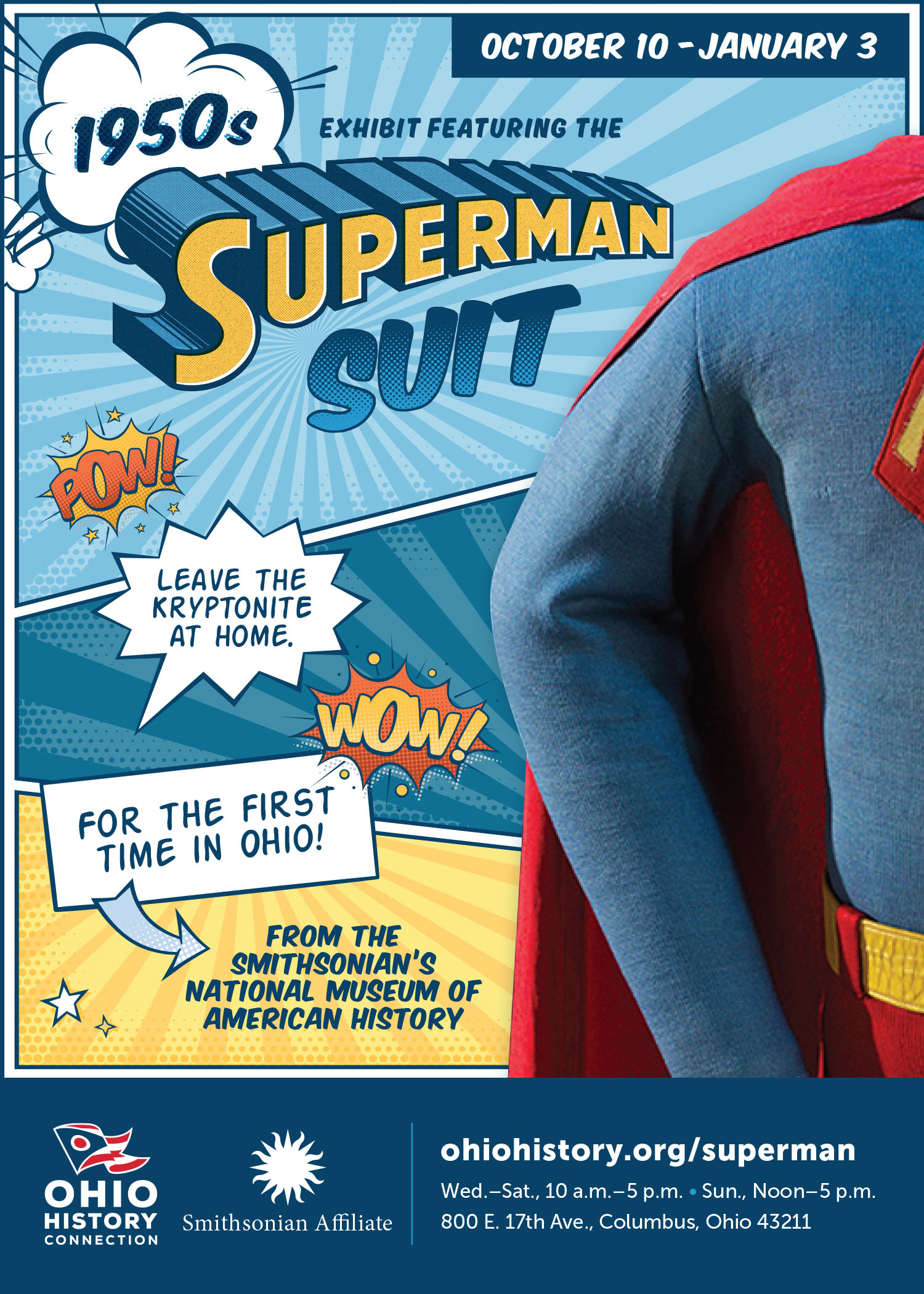 Poster for Superman suit on display