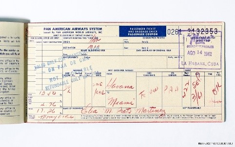 Passenger ticket and baggage check for Margarita Lora, who left Cuba on August 14, 1961, and sent to Miami as part of Operation Pedro Pan. Gift of Margarita Lora. NMAH