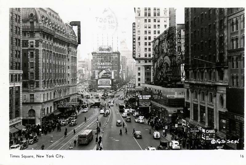 Postcard featuring New York's Times Square