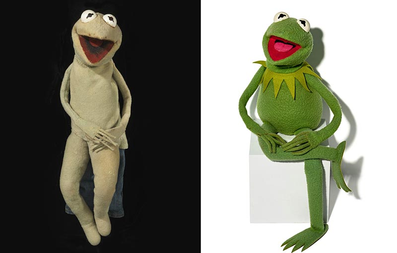 Two versions of Muppet Kermit the Frog