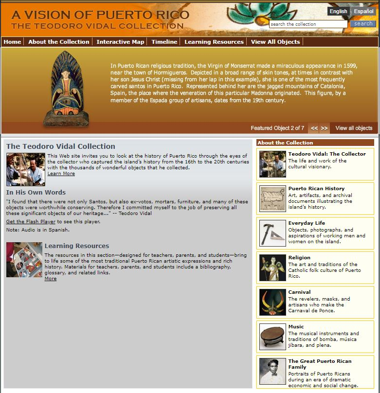 Screenshot of the Vidal Collection website