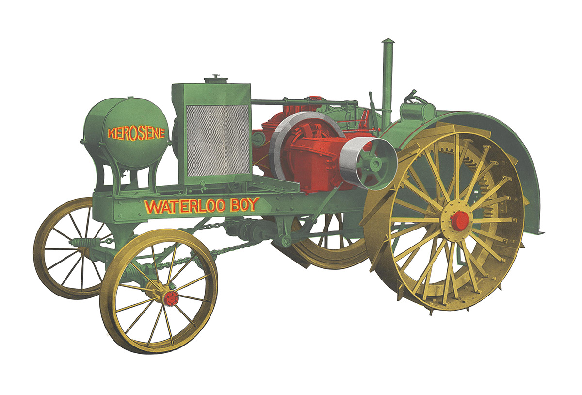 A trade image of the Waterloo Boy tractor, featuring a green body, red seat, and yellow wheels.